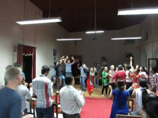 Worship and dancing with Indians at the retreat